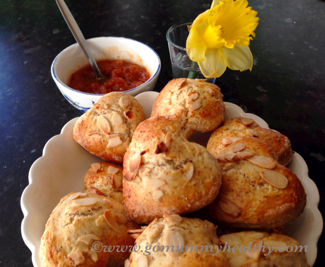 home-made heart-shaped almond scones