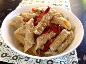 Healthy creamy penne with aubergine