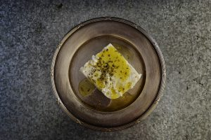 Olive oil on feta - healthy fats