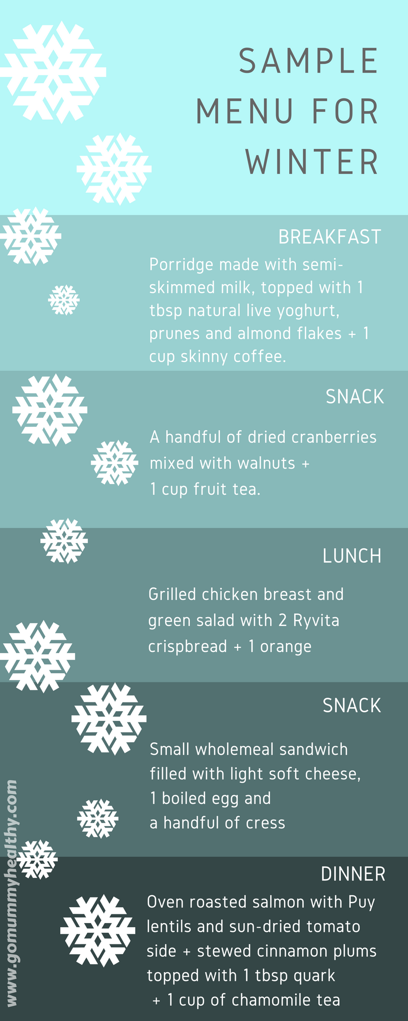 Sample winter menu - healthy eating